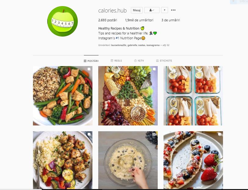 Calories Hub este unul dintre cele mai cool pagini de Instagram despre mâncatul sănătos