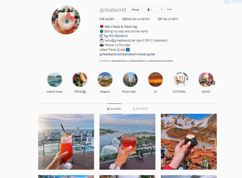 Girleatworld este unul dintre cele mai cool pagini de Instagram despre călătorii