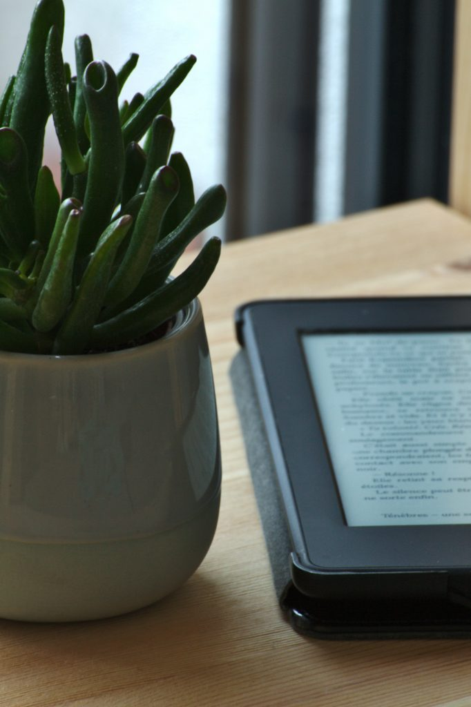 Kindle pe masa alaturi de o planta